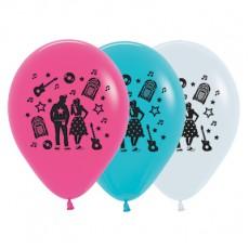 Teardrop Fashion White, Fuchsia & Caribbean Blue Rock n Roll Theme Latex Balloons 30cm Pack of 25