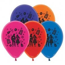 Teardrop Crystal Multi Coloured Rock n Roll Theme Latex Balloons 30cm Pack of 25