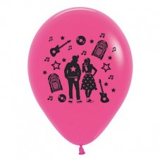 Rock n Roll Fashion Fuchsia Theme Latex Balloons