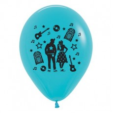 Rock n Roll Caribbean Blue  Latex Balloons