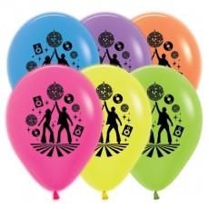 Teardrop Neon Assorted Disco & 70's Disco Theme Latex Balloons 30cm Pack of 25