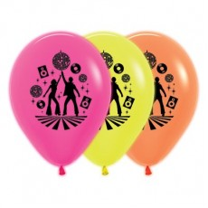 Teardrop Neon Fuchsia, Yellow & Orange Disco & 70's Latex Balloons 30cm Pack of 25