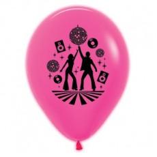 Teardrop Neon Fuchsia Disco & 70's Disco Theme Latex Balloons 30cm Pack of 6
