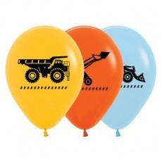Teardrop Fashion Yellow, Orange & Blue Big Dig Construction Trucks Latex Balloons 30cm Pack of 25