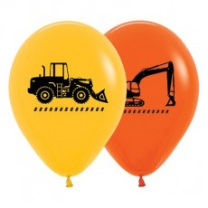 Teardrop Fashion Yellow & Orange Big Dig Construction Trucks Latex Balloons 30cm Pack of 25