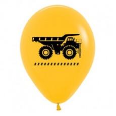 Teardrop Fashion Yellow Big Dig Construction Trucks Latex Balloons 30cm Pack of 6