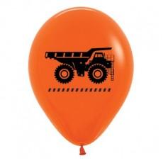 Teardrop Fashion Orange Big Dig Construction Trucks Latex Balloons 30cm Pack of 6