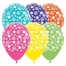 Feeling Groovy & 60's Tropical Multi Coloured Peace & Love Latex Balloons