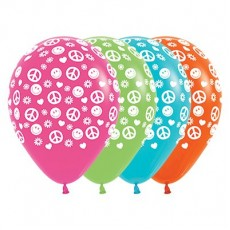 Teardrop Multi Coloured Feeling Groovy & 60's Peace & Love Latex Balloons 30cm Pack of 25