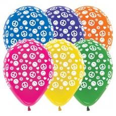 Teardrop Crystal Multi Coloured Feeling Groovy & 60's Peace & Love Latex Balloons 30cm Pack of 25