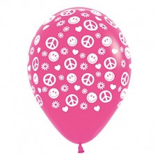Feeling Groovy & 60's Fashion Fuchsia Peace & Love Latex Balloons