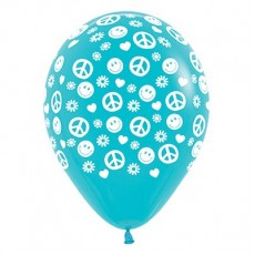 Feeling Groovy & 60's Fashion Caribbean Blue Peace & Love Latex Balloons