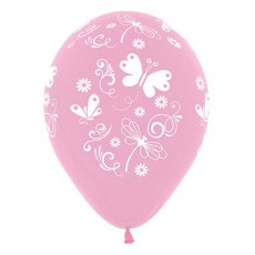 Pink Fashion with Butterflies & Dragonflies Latex Balloons