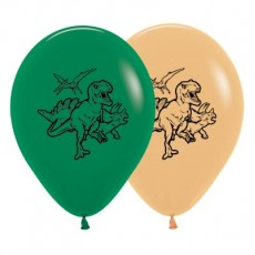 Dinosaur Fashion Forest Green & Toffee  Latex Balloons