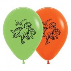 Dinosaur Fashion Lime Green & Orange  Latex Balloons