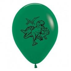 Teardrop Fashion Forest Green Dinosaur Latex Balloons 30cm Pack of 6