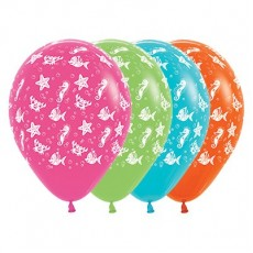 Hawaiian Luau Tropical Multi Coloured Sea Creatures Latex Balloons