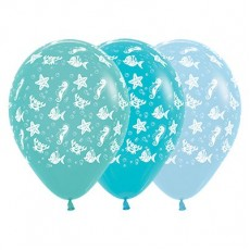 Hawaiian Luau Fashion Aquamarine, Caribbean Blue & Pastel Blue Sea Creatures Latex Balloons