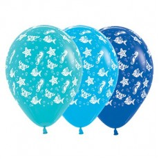 Hawaiian Luau Caribbean Blue, Blue & Royal Blue Sea Creatures Latex Balloons