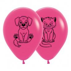Magenta Fashion Fuchsia Kittens & Puppies Latex Balloons