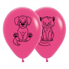 Magenta Fuchsia Kittens & Puppies Latex Balloons