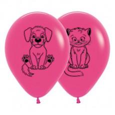 Magenta Fashion Fuchsia with Kittens & Puppies Latex Balloons
