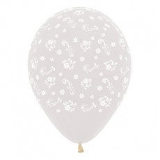 Clear Filigree Flowers Crystal Latex Balloons