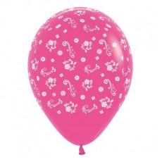Magenta Fashion Fuchsia Filigree Flowers Latex Balloons