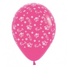Magenta Fuchsia Filigree Flowers Latex Balloons