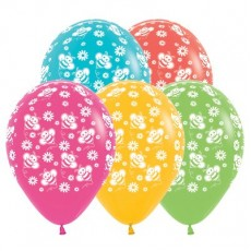 Multi Colour Tropical ed Bumble Bee's & Flowers Latex Balloons