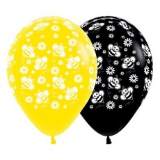 Multi Colour Fashion Yellow & Black Bumble Bee's & Flowers Latex Balloons