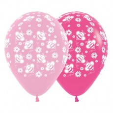 Pink Fashion  & Fuchsia with Bumble Bee's & Flowers Latex Balloons