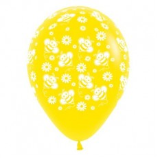 Teardrop Fashion Yellow Bumble Bee's & Flowers Latex Balloons 30cm Pack of 6