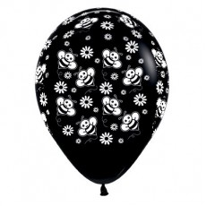 Black Fashion Bumble Bee's & Flowers Latex Balloons