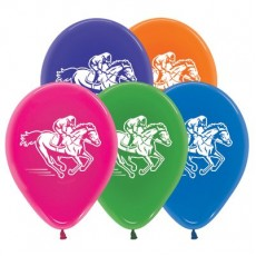 Horse Racing Crystal Assorted  Latex Balloons