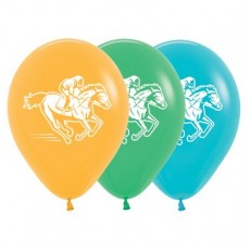 Horse Racing Fashion Mango, Jade Green & Caribbean Blue  Latex Balloons