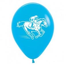 Horse Racing Fashion Blue  Latex Balloons