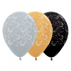 Multi Colour Metallic Silver, Gold & Graphite Sparkling Stars Latex Balloons