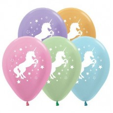 Unicorn Sparkle Metallic Multi Coloured  Latex Balloons