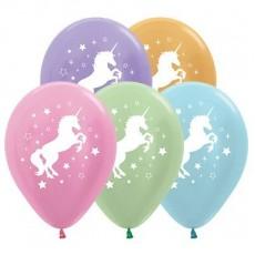 Unicorn Sparkle Metallic Satin Pearl Unicorn & Stars Latex Balloons