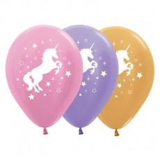 Unicorn Sparkle Satin Pearl Pink, Lilac & Metallic Gold Unicorn & Stars Latex Balloons