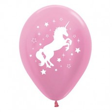 Unicorn Sparkle Pearl Satin Pink  Latex Balloons