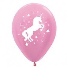 Unicorn Sparkle Satin Pearl Pink Unicorn & Stars Latex Balloons