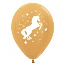 Unicorn Sparkle Metallic Gold Unicorn & Stars Latex Balloons