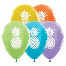 Hawaiian Luau Satin Pearl & Metallic Multi Coloured Tropical Pineapple Latex Balloons