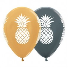 Hawaiian Metallic Gold & Graphite Tropical Pineapple Latex Balloons
