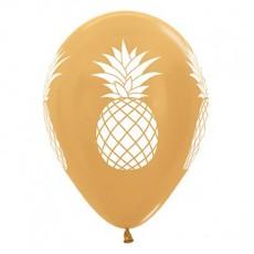 Hawaiian Party Decorations Gold Tropical Pineapple Latex Balloons 25pk