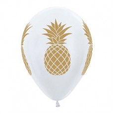 Hawaiian Luau Satin Pearl White Gold Tropical Pineapple Latex Balloons