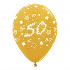 50th Birthday Metallic Gold Stars Latex Balloons
