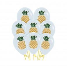 Hawaiian Luau Gold & Green Pineapple Latex Balloons